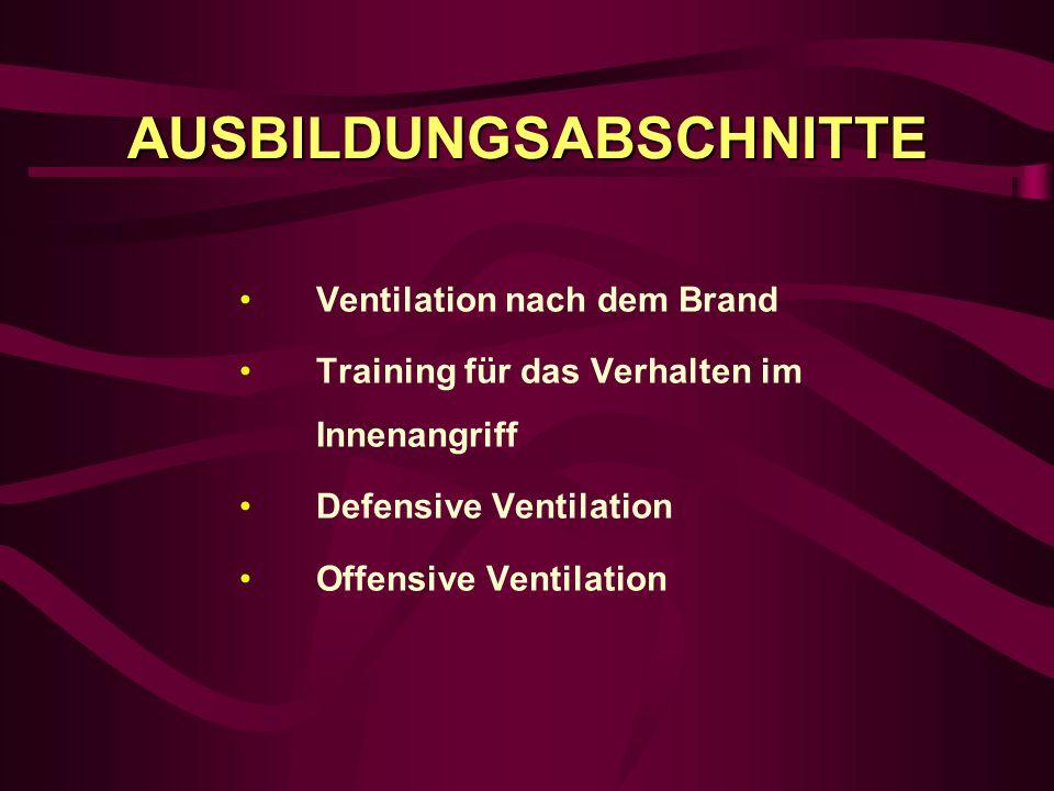 AUSBILDUNGSABSCHNITTE Ventilation nach dem Brand Training für das Verhalten im Innenangriff Defensive Ventilation Offensive Ventilation