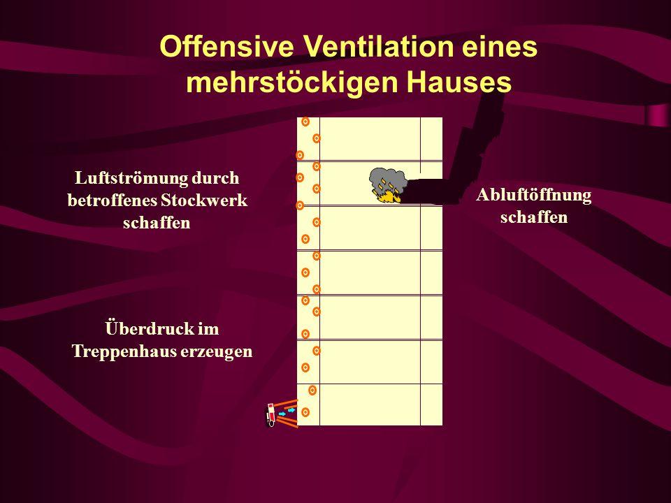 Offensive Ventilation eines mehrstöckigen Hauses Abluftöffnung schaffen Überdruck im Treppenhaus erzeugen Luftströmung durch betroffenes Stockwerk sch