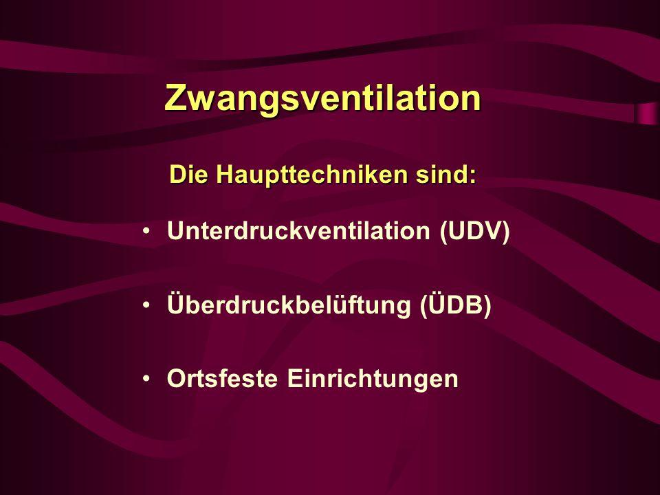 Zwangsventilation Die Haupttechniken sind: Unterdruckventilation (UDV) Überdruckbelüftung (ÜDB) Ortsfeste Einrichtungen