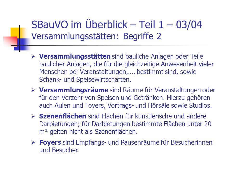 SBauVO im Überblick – Teil 1 – 04/04 Versammlungsstätten In Teil 3 der Vorlesung gehe ich auf die SBauVO – Teil 1 – Versammlungsstätten nochmals im Detail ein.