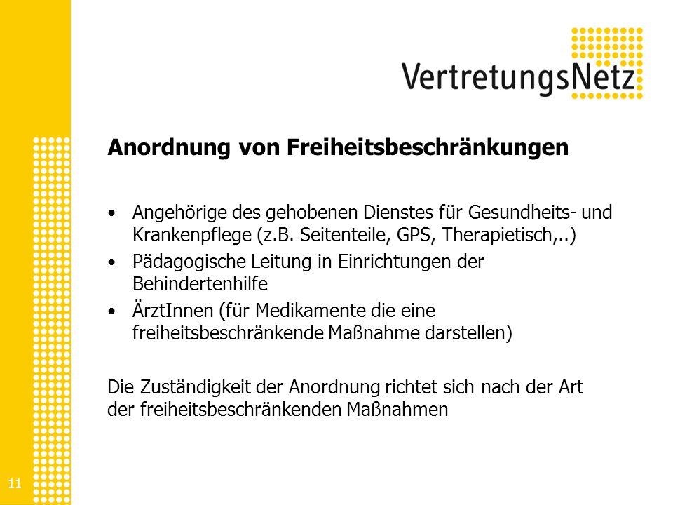Anordnung von Freiheitsbeschränkungen Angehörige des gehobenen Dienstes für Gesundheits- und Krankenpflege (z.B. Seitenteile, GPS, Therapietisch,..) P