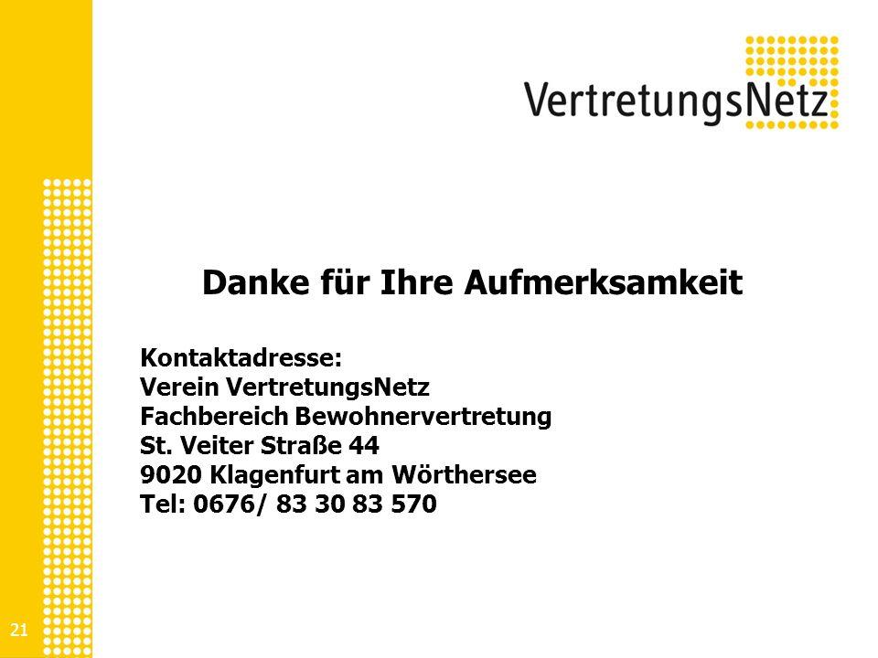 21 Danke für Ihre Aufmerksamkeit Kontaktadresse: Verein VertretungsNetz Fachbereich Bewohnervertretung St. Veiter Straße 44 9020 Klagenfurt am Wörther