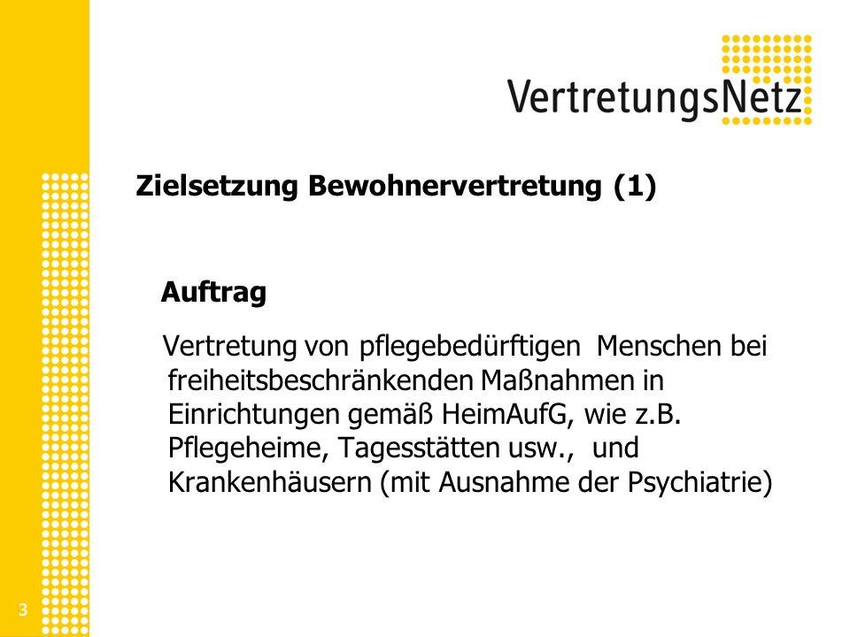3 Zielsetzung Bewohnervertretung (1) Auftrag Vertretung von pflegebedürftigen Menschen bei freiheitsbeschränkenden Maßnahmen in Einrichtungen gemäß He