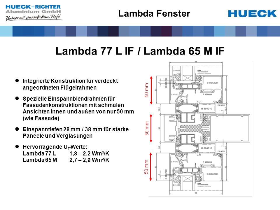 Lambda 77 L IF / Lambda 65 M IF Integrierte Konstruktion für verdeckt angeordneten Flügelrahmen Spezielle Einspannblendrahmen für Fassadenkonstruktion
