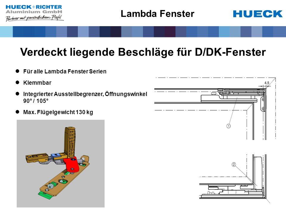 Verdeckt liegende Beschläge für D/DK-Fenster Für alle Lambda Fenster Serien Klemmbar Integrierter Ausstellbegrenzer, Öffnungswinkel 90° / 105° Max. Fl