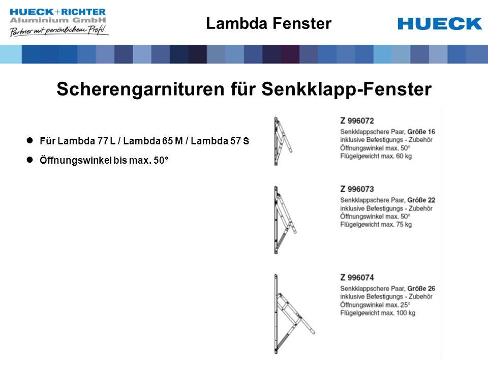 Scherengarnituren für Senkklapp-Fenster Für Lambda 77 L / Lambda 65 M / Lambda 57 S Öffnungswinkel bis max.