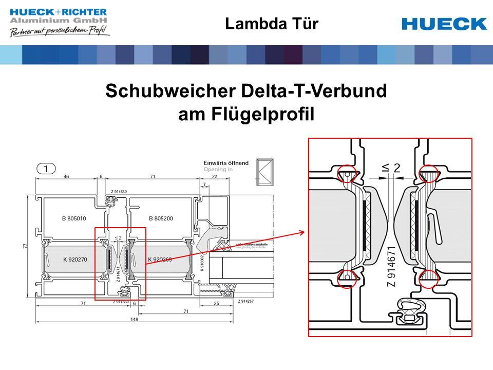 Schubweicher Delta-T-Verbund am Flügelprofil Lambda Tür