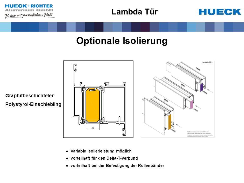 Optionale Isolierung Variable Isolierleistung möglich vorteilhaft für den Delta-T-Verbund vorteilhaft bei der Befestigung der Rollenbänder Graphitbeschichteter Polystyrol-Einschiebling Lambda Tür