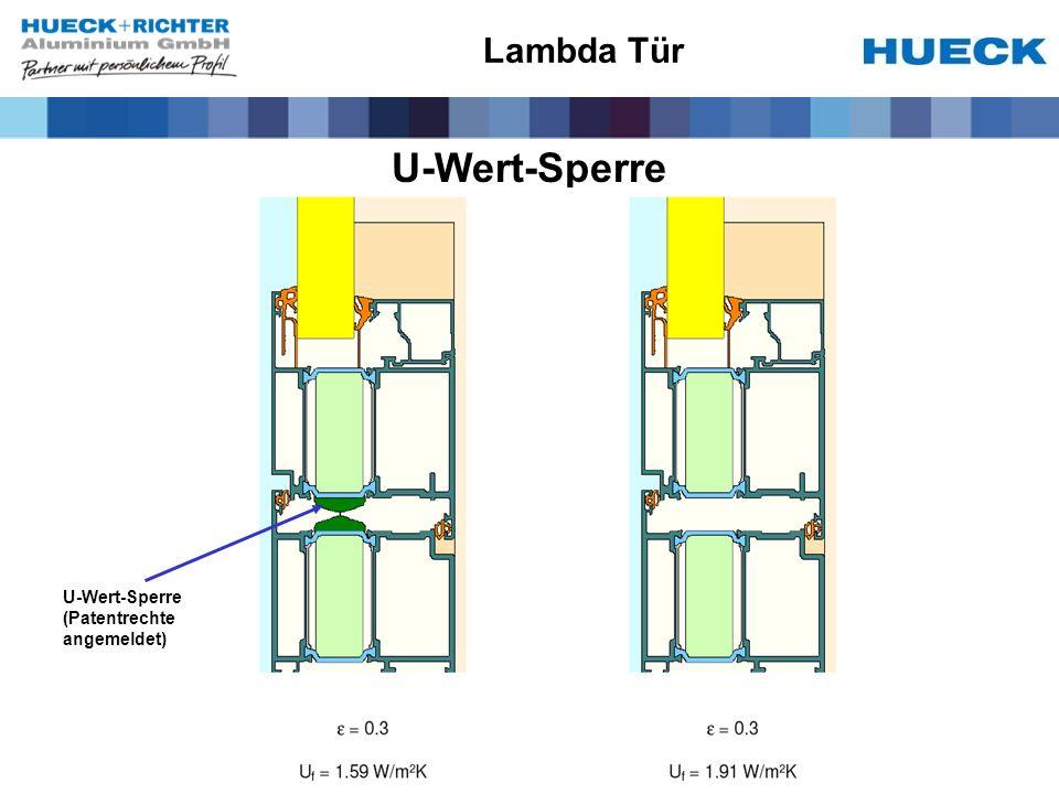 U-Wert-Sperre U-Wert-Sperre (Patentrechte angemeldet) Lambda Tür