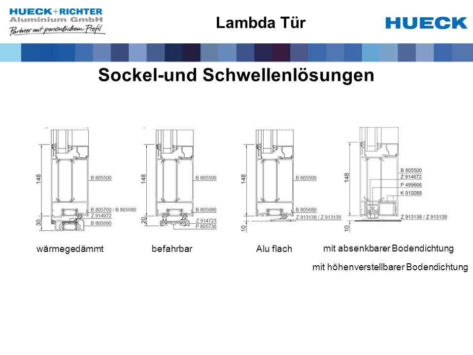 Sockel-und Schwellenlösungen Lambda Tür wärmegedämmtbefahrbar mit absenkbarer Bodendichtung Alu flach mit höhenverstellbarer Bodendichtung