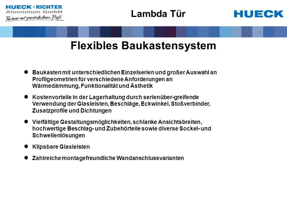 Flexibles Baukastensystem Baukasten mit unterschiedlichen Einzelserien und großer Auswahl an Profilgeometrien für verschiedene Anforderungen an Wärmed