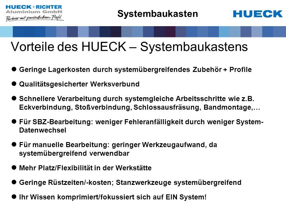Systembaukasten Vorteile des HUECK – Systembaukastens Geringe Lagerkosten durch systemübergreifendes Zubehör + Profile Qualitätsgesicherter Werksverbund Schnellere Verarbeitung durch systemgleiche Arbeitsschritte wie z.B.