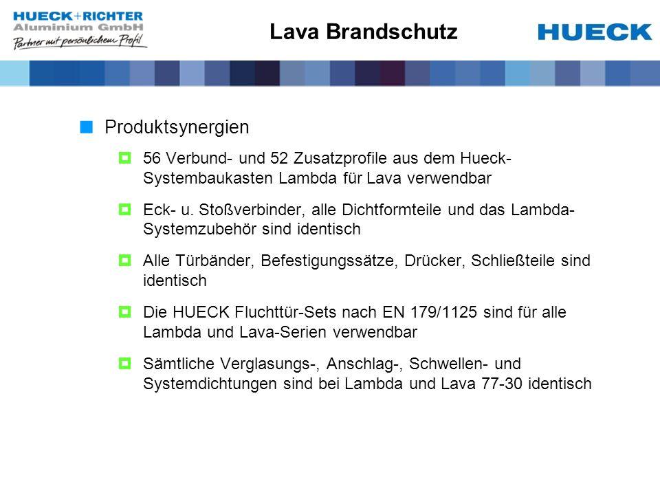 Produktsynergien 56 Verbund- und 52 Zusatzprofile aus dem Hueck- Systembaukasten Lambda für Lava verwendbar Eck- u.