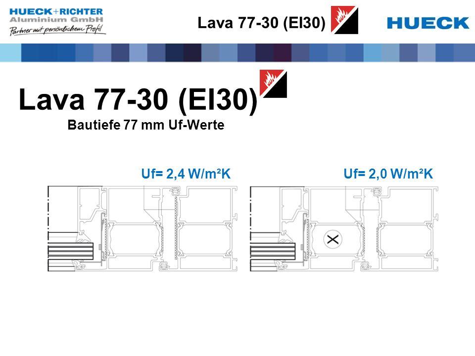 Lava 77-30 (EI30) Bautiefe 77 mm Uf-Werte Uf= 2,4 W/m²KUf= 2,0 W/m²K Lava 77-30 (EI30)