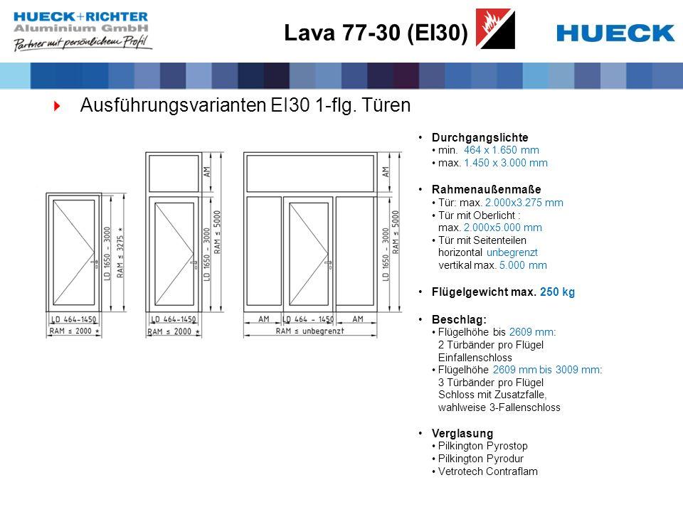 Ausführungsvarianten EI30 1-flg. Türen Durchgangslichte min. 464 x 1.650 mm max. 1.450 x 3.000 mm Rahmenaußenmaße Tür: max. 2.000x3.275 mm Tür mit Obe