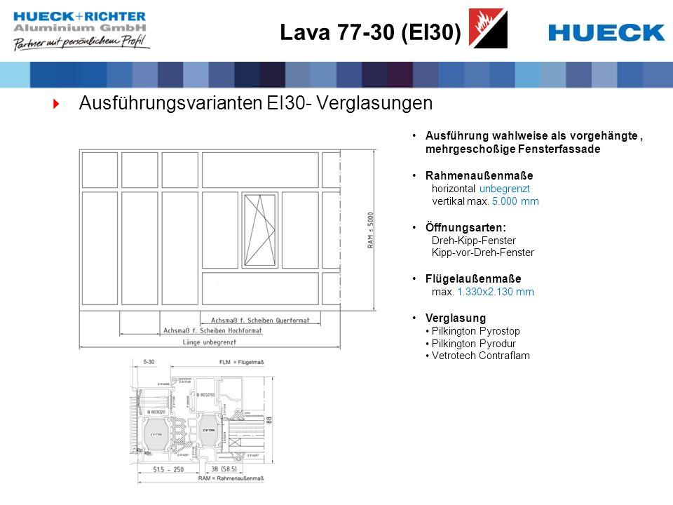 Lava 77-30 (EI30) Ausführungsvarianten EI30- Verglasungen Ausführung wahlweise als vorgehängte, mehrgeschoßige Fensterfassade Rahmenaußenmaße horizontal unbegrenzt vertikal max.