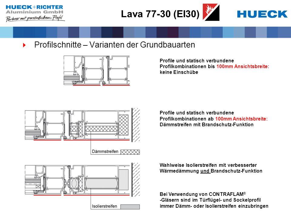 Lava 77-30 (EI30) Profilschnitte – Varianten der Grundbauarten Profile und statisch verbundene Profilkombinationen bis 100mm Ansichtsbreite: keine Ein