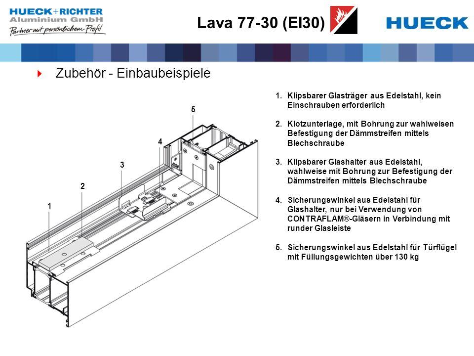 Lava 77-30 (EI30) Zubehör - Einbaubeispiele 1.Klipsbarer Glasträger aus Edelstahl, kein Einschrauben erforderlich 2.Klotzunterlage, mit Bohrung zur wa