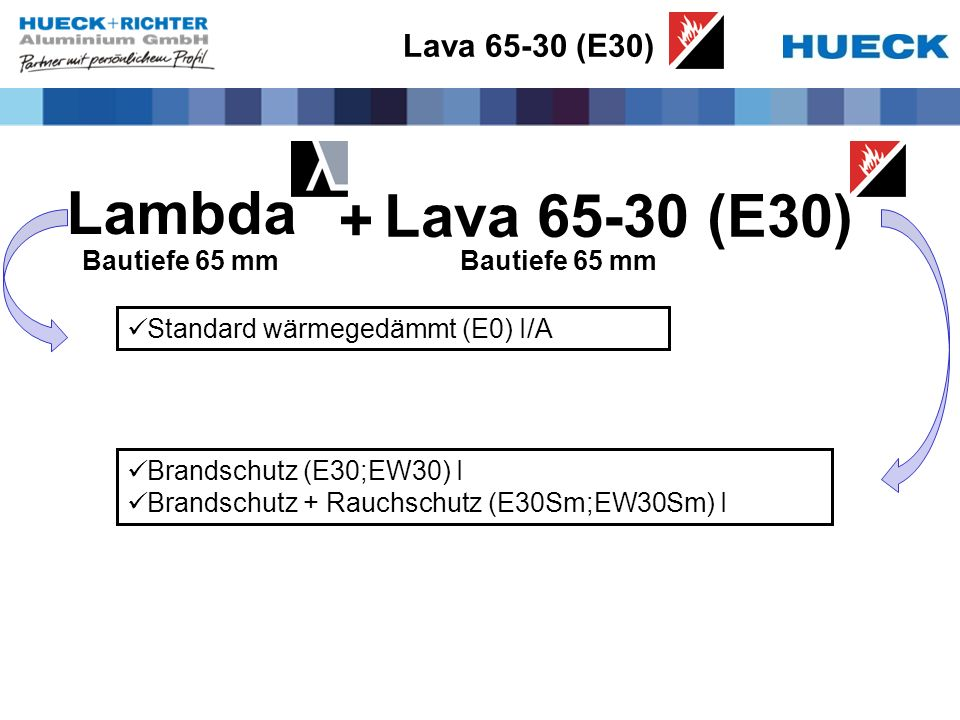 Lava 65-30 (E30) Standard wärmegedämmt (E0) I/A Brandschutz (E30;EW30) I Brandschutz + Rauchschutz (E30Sm;EW30Sm) I Lambda Lava 65-30 (E30) + Bautiefe 65 mm