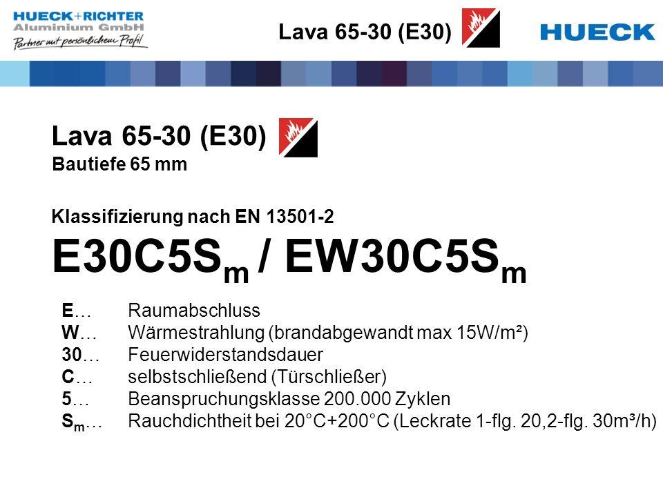 Lava 65-30 (E30) Bautiefe 65 mm Klassifizierung nach EN 13501-2 E30C5S m / EW30C5S m E…Raumabschluss W…Wärmestrahlung (brandabgewandt max 15W/m²) 30…Feuerwiderstandsdauer C…selbstschließend (Türschließer) 5…Beanspruchungsklasse 200.000 Zyklen S m …Rauchdichtheit bei 20°C+200°C (Leckrate 1-flg.