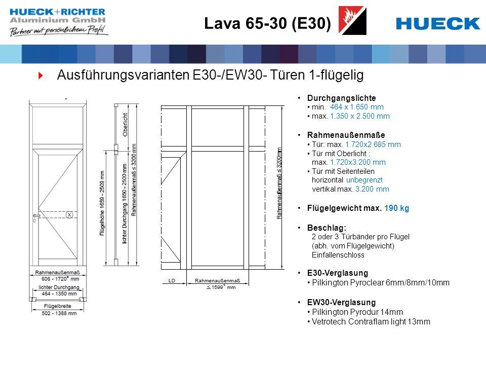 Lava 65-30 (E30) Ausführungsvarianten E30-/EW30- Türen 1-flügelig Durchgangslichte min. 464 x 1.650 mm max. 1.350 x 2.500 mm Rahmenaußenmaße Tür: max.