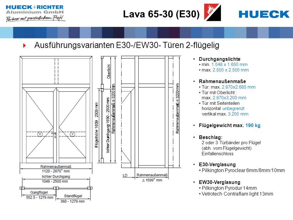 Lava 65-30 (E30) Ausführungsvarianten E30-/EW30- Türen 2-flügelig Durchgangslichte min. 1.048 x 1.650 mm max. 2.500 x 2.500 mm Rahmenaußenmaße Tür: ma