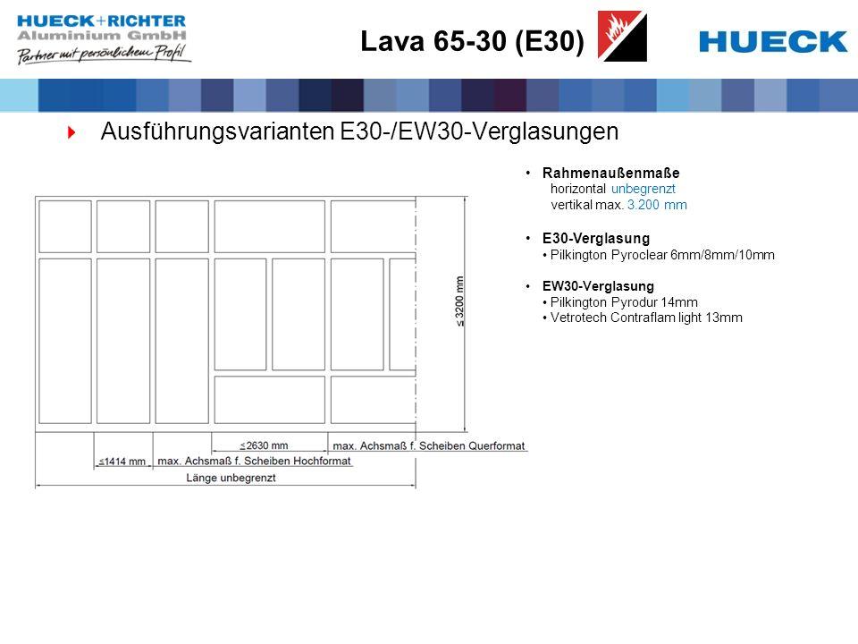 Lava 65-30 (E30) Ausführungsvarianten E30-/EW30-Verglasungen Rahmenaußenmaße horizontal unbegrenzt vertikal max. 3.200 mm E30-Verglasung Pilkington Py