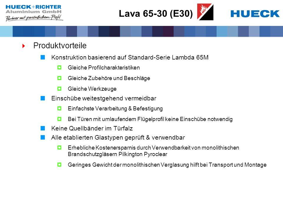 Lava 65-30 (E30) Produktvorteile Konstruktion basierend auf Standard-Serie Lambda 65M Gleiche Profilcharakteristiken Gleiche Zubehöre und Beschläge Gl