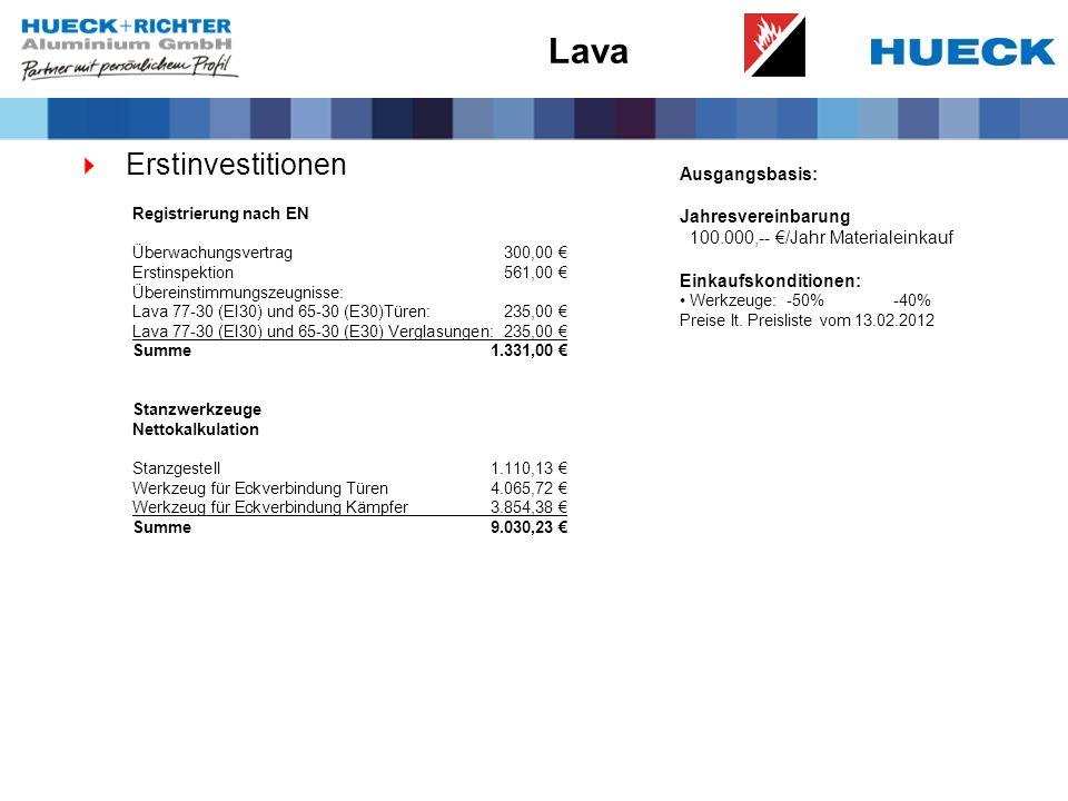 Lava Erstinvestitionen Ausgangsbasis: Jahresvereinbarung 100.000,-- /Jahr Materialeinkauf Einkaufskonditionen: Werkzeuge:-50%-40% Preise lt.