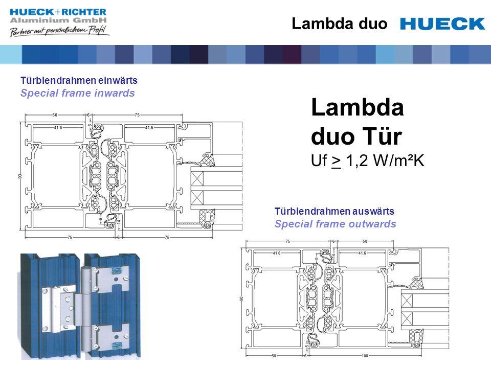 Lambda duo Türblendrahmen einwärts Special frame inwards Türblendrahmen auswärts Special frame outwards Lambda duo Tür Uf > 1,2 W/m²K