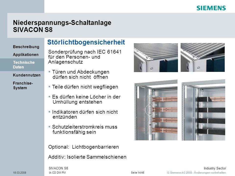 © Siemens AG 2008 - Änderungen vorbehalten Industry Sector 18.03.2008IA CD DM PMSeite 14/45 SIVACON S8 Franchise- System Kundennutzen Technische Daten