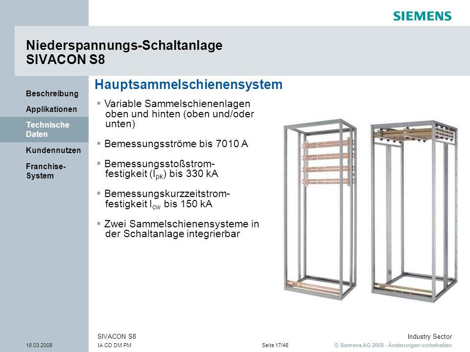 © Siemens AG 2008 - Änderungen vorbehalten Industry Sector 18.03.2008IA CD DM PMSeite 17/45 SIVACON S8 Franchise- System Kundennutzen Technische Daten