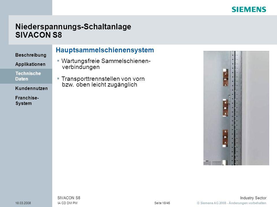 © Siemens AG 2008 - Änderungen vorbehalten Industry Sector 18.03.2008IA CD DM PMSeite 18/45 SIVACON S8 Franchise- System Kundennutzen Technische Daten
