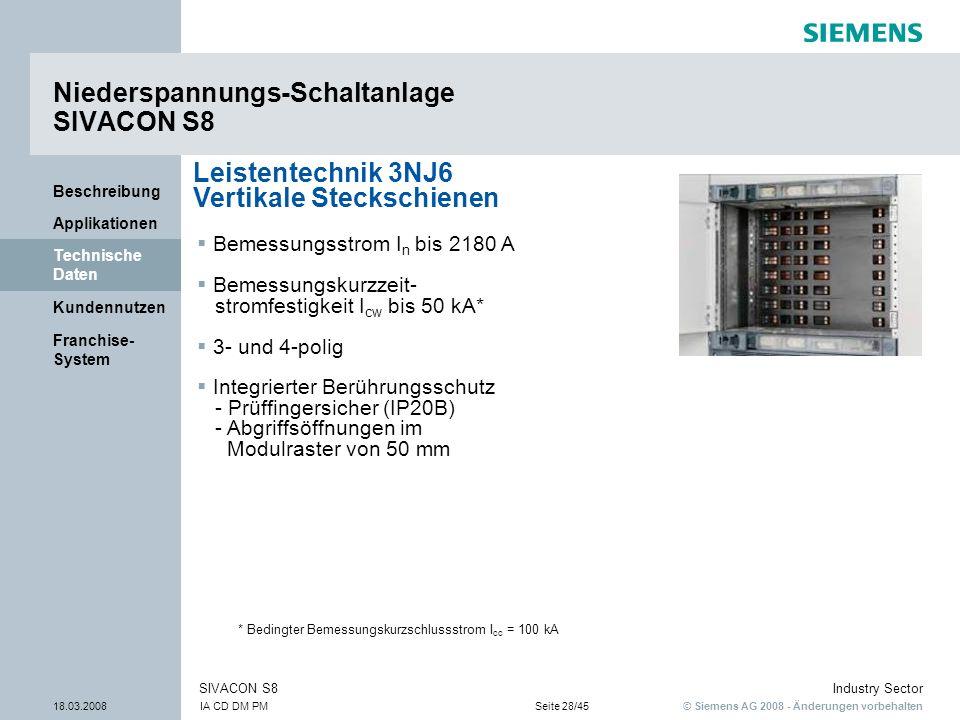 © Siemens AG 2008 - Änderungen vorbehalten Industry Sector 18.03.2008IA CD DM PMSeite 28/45 SIVACON S8 Franchise- System Kundennutzen Technische Daten