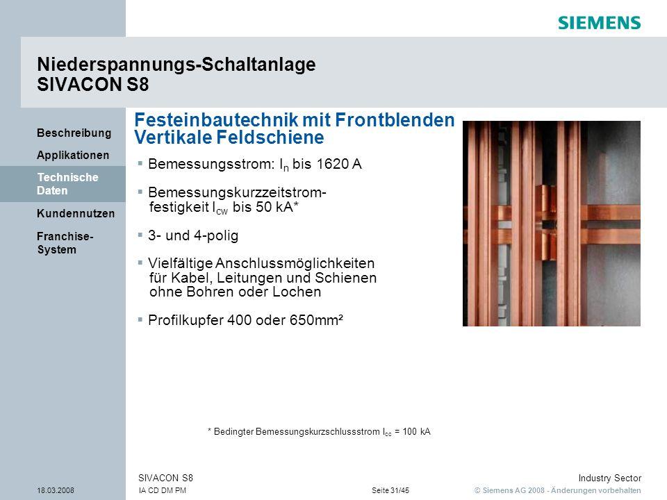 © Siemens AG 2008 - Änderungen vorbehalten Industry Sector 18.03.2008IA CD DM PMSeite 31/45 SIVACON S8 Franchise- System Kundennutzen Technische Daten