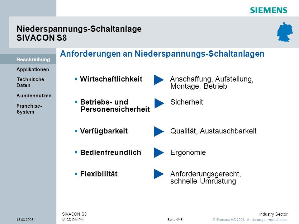 © Siemens AG 2008 - Änderungen vorbehalten Industry Sector 18.03.2008IA CD DM PMSeite 4/45 SIVACON S8 Franchise- System Kundennutzen Technische Daten