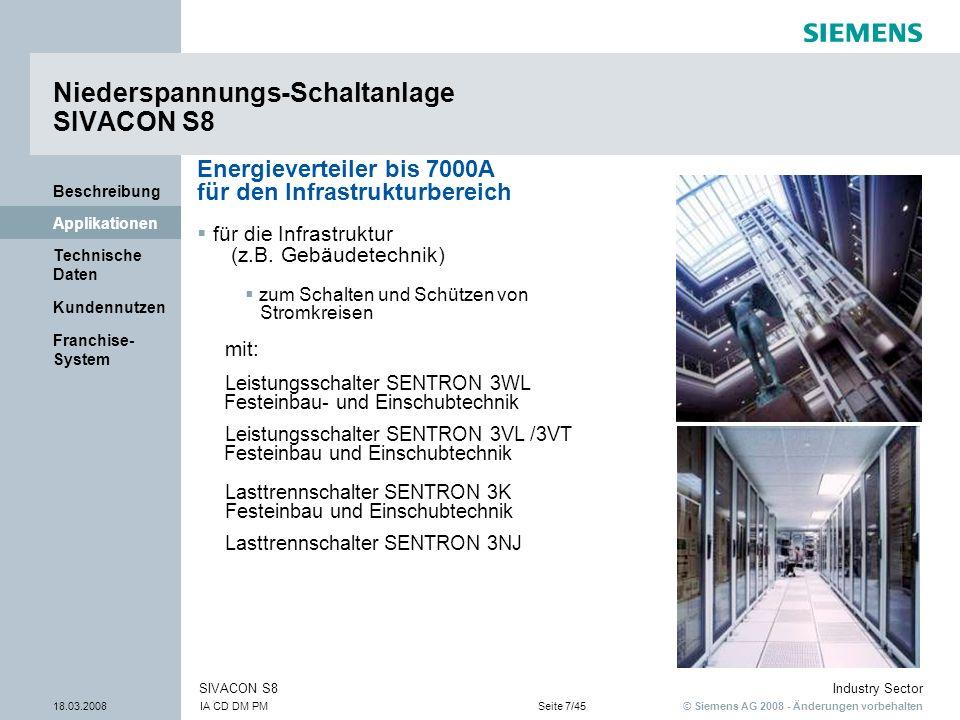 © Siemens AG 2008 - Änderungen vorbehalten Industry Sector 18.03.2008IA CD DM PMSeite 7/45 SIVACON S8 Franchise- System Kundennutzen Technische Daten