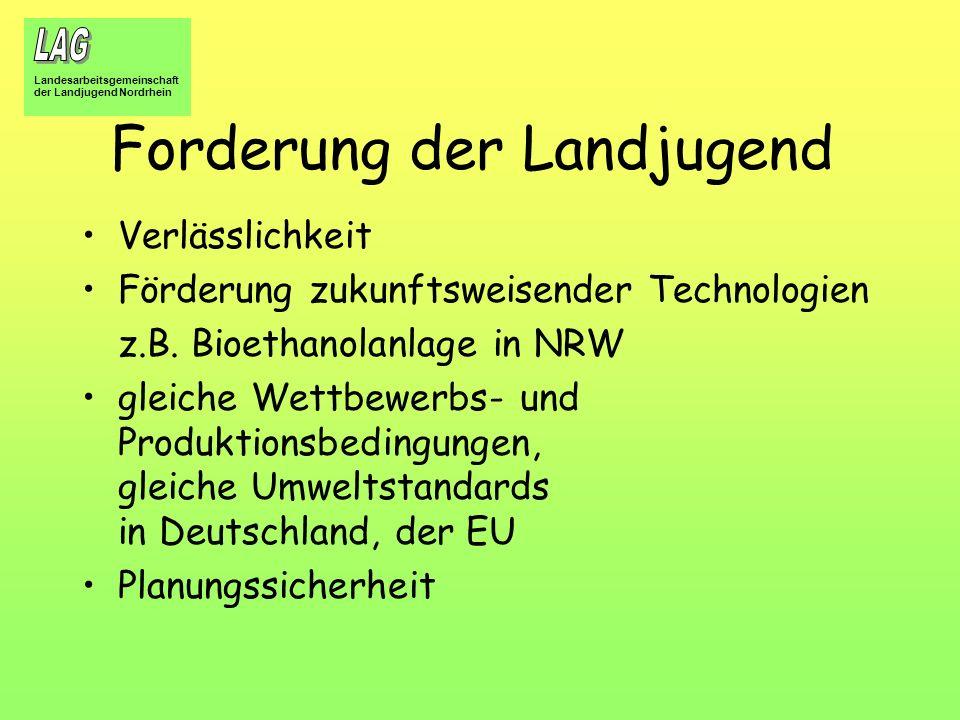 Landesarbeitsgemeinschaft der Landjugend Nordrhein Forderung der Landjugend Verlässlichkeit Förderung zukunftsweisender Technologien z.B. Bioethanolan