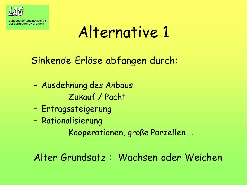 Landesarbeitsgemeinschaft der Landjugend Nordrhein Alternative 1 Sinkende Erlöse abfangen durch: –Ausdehnung des Anbaus Zukauf / Pacht –Ertragssteiger