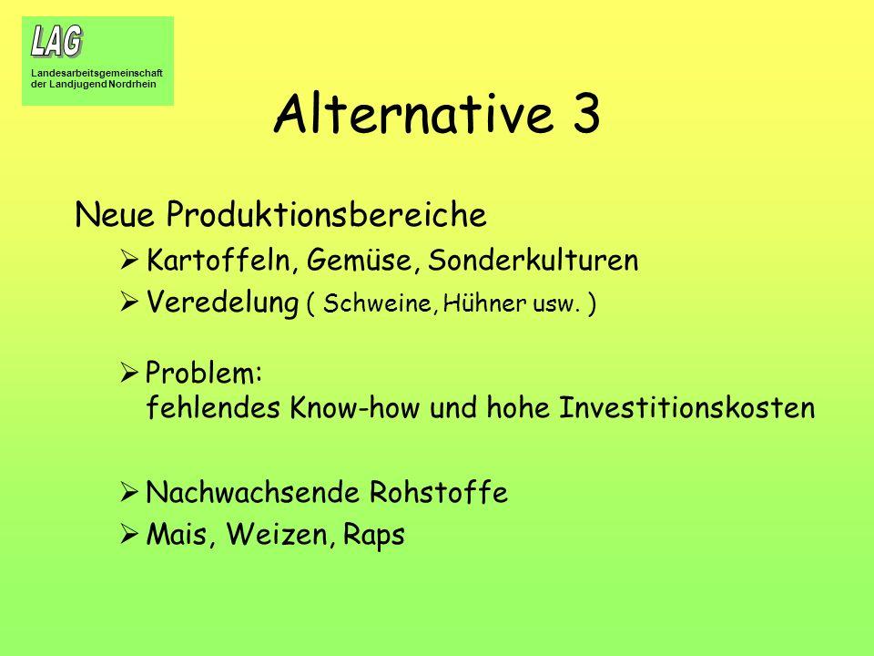 Landesarbeitsgemeinschaft der Landjugend Nordrhein Alternative 3 Neue Produktionsbereiche Kartoffeln, Gemüse, Sonderkulturen Veredelung ( Schweine, Hü