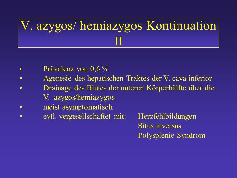 V. azygos/hemiazygos Kontinuation V. azygos/hemiazygos Kontinuation Normalbefund V. cava 5. -7. Embryonalwoche Minniti et al Eur. Radiol 2002