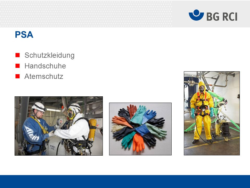PSA Schutzkleidung Handschuhe Atemschutz