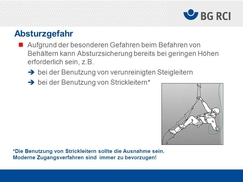 Absturzgefahr Aufgrund der besonderen Gefahren beim Befahren von Behältern kann Absturzsicherung bereits bei geringen Höhen erforderlich sein, z.B. be
