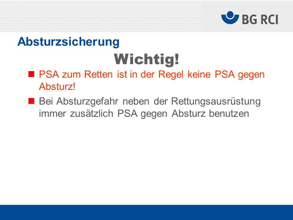 Absturzsicherung PSA zum Retten ist in der Regel keine PSA gegen Absturz! Bei Absturzgefahr neben der Rettungsausrüstung immer zusätzlich PSA gegen Ab