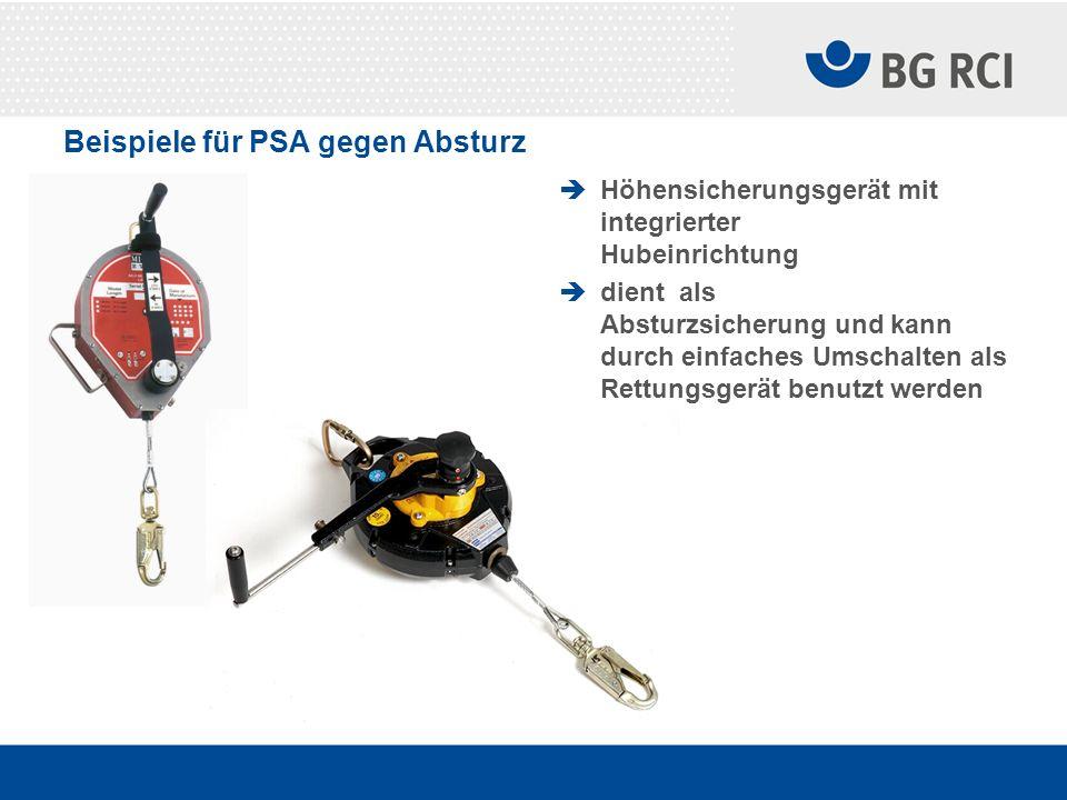 Beispiele für PSA gegen Absturz Höhensicherungsgerät mit integrierter Hubeinrichtung dient als Absturzsicherung und kann durch einfaches Umschalten al