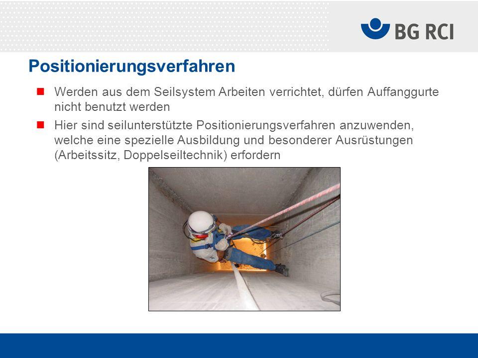 Positionierungsverfahren Werden aus dem Seilsystem Arbeiten verrichtet, dürfen Auffanggurte nicht benutzt werden Hier sind seilunterstützte Positionie