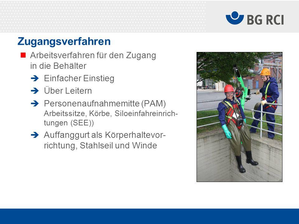 Zugangsverfahren Arbeitsverfahren für den Zugang in die Behälter Einfacher Einstieg Über Leitern Personenaufnahmemitte (PAM) Arbeitssitze, Körbe, Silo