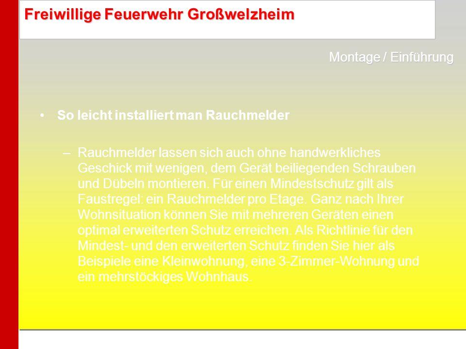Freiwillige Feuerwehr Großwelzheim So leicht installiert man Rauchmelder –Rauchmelder lassen sich auch ohne handwerkliches Geschick mit wenigen, dem G