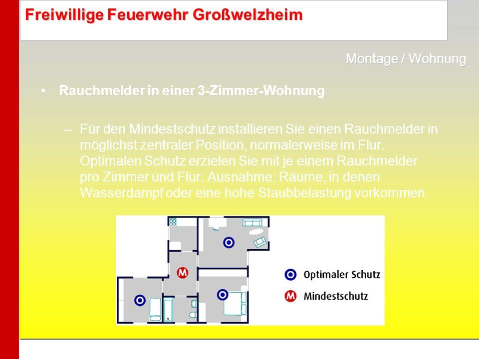 Freiwillige Feuerwehr Großwelzheim Rauchmelder in einer 3-Zimmer-Wohnung –Für den Mindestschutz installieren Sie einen Rauchmelder in möglichst zentra