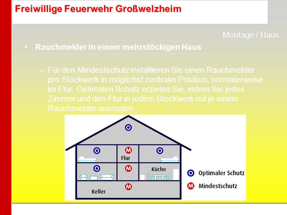 Freiwillige Feuerwehr Großwelzheim Rauchmelder in einem mehrstöckigen Haus –Für den Mindestschutz installieren Sie einen Rauchmelder pro Stockwerk in